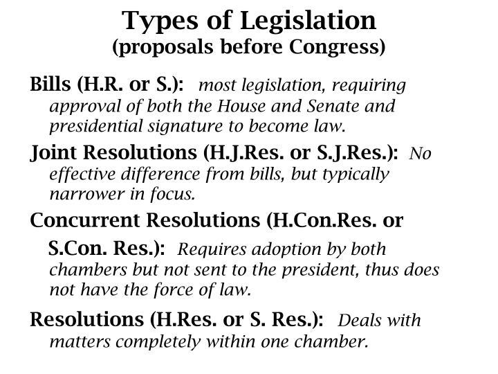 Types of Legislation
