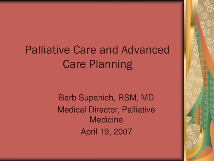 palliative care and advanced care planning n.