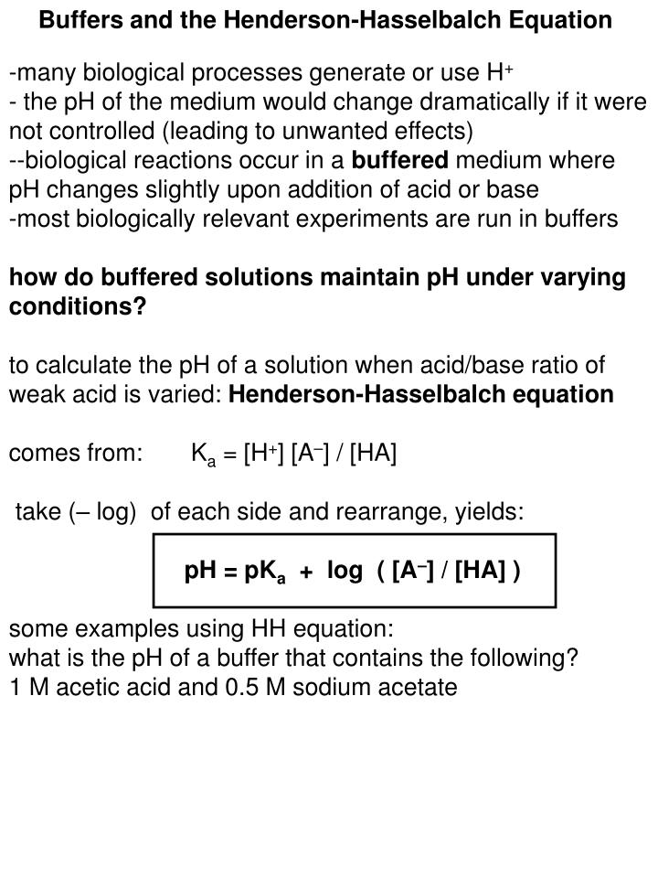 Buffers and the Henderson-Hasselbalch Equation
