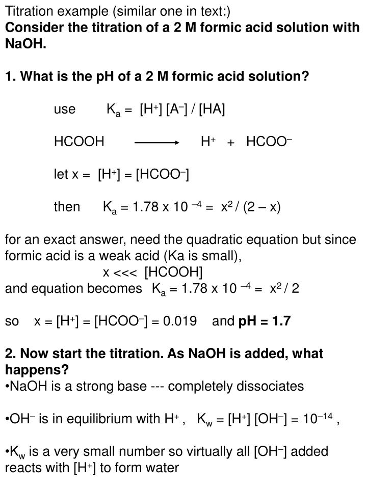 Titration example (similar one in text:)