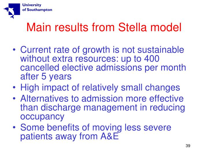 Main results from Stella model