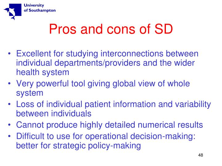 Pros and cons of SD