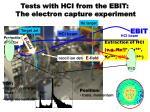 tests with hci from the ebit the electron capture experiment