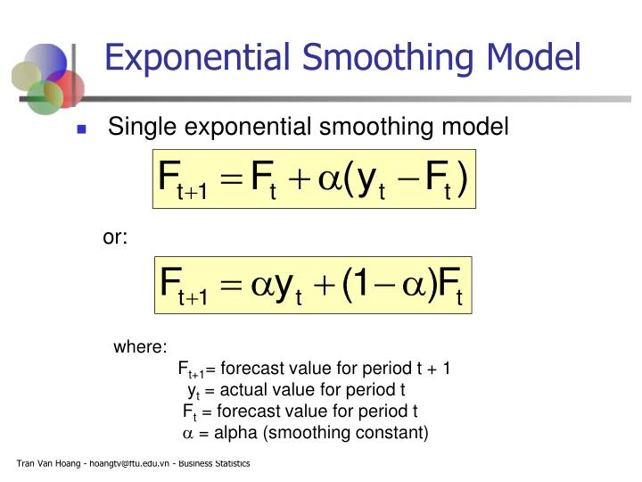 exponential smoothing and actual value How forecasting works in tableau forecasting in tableau uses a technique known as exponential smoothing a weighted average of the last actual value and the.