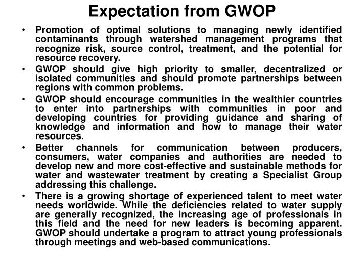Expectation from gwop1