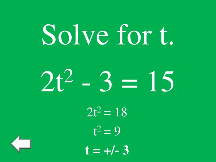 Solve for t.