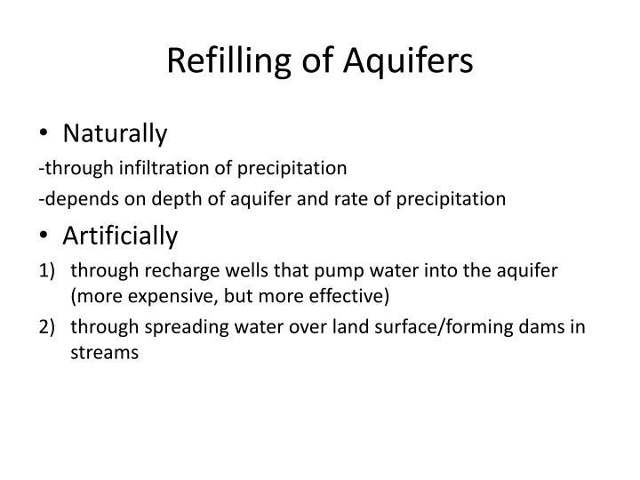 Refilling of Aquifers