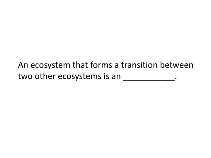 An ecosystem that forms a transition between two other ecosystems is an ___________.