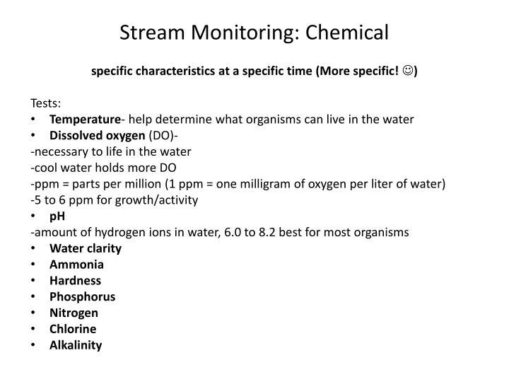 Stream Monitoring: Chemical
