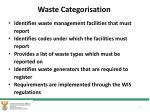 waste categorisation