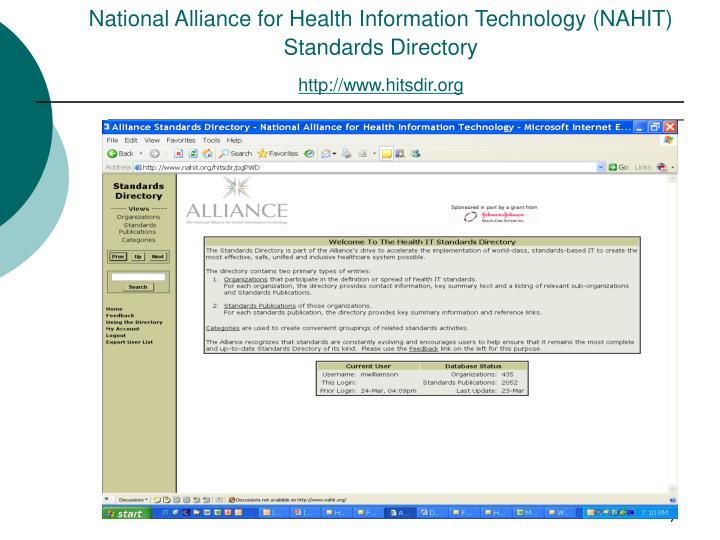National Alliance for Health Information Technology (NAHIT) Standards Directory