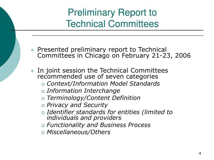 Preliminary Report to