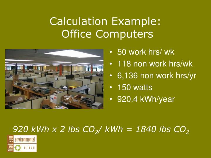 Calculation Example:
