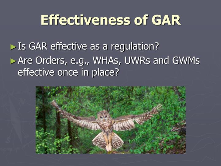 Effectiveness of GAR