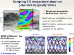 sampling 3 d temperature structure generated by gravity waves