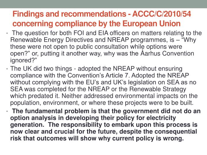 Findings and recommendations accc c 2010 54 concerning compliance by the european union
