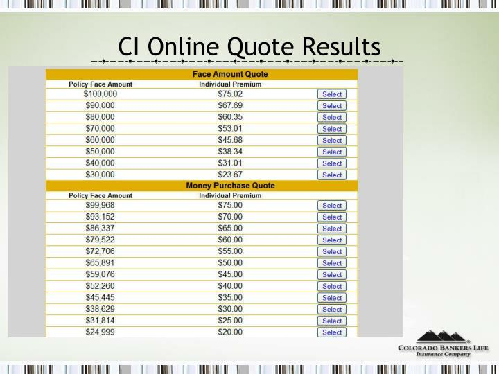 CI Online Quote Results