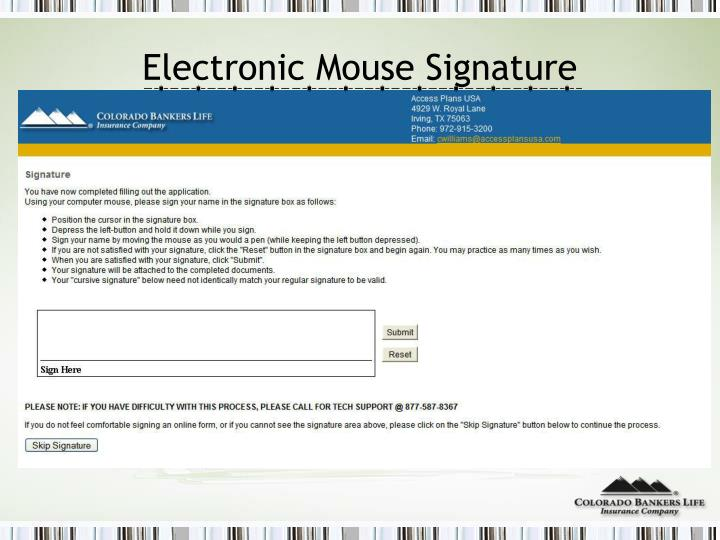 Electronic Mouse Signature