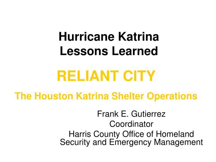 hurricane katrina lessons learned n.