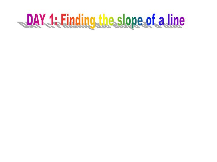 PPT - DAY 1: Finding the slope of a line PowerPoint ...