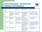 travel planning arrivals and welcome orientations4