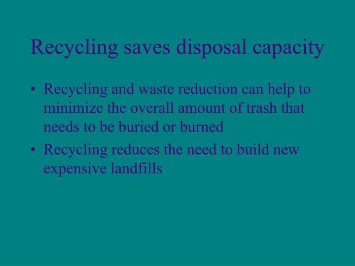 Recycling saves disposal capacity