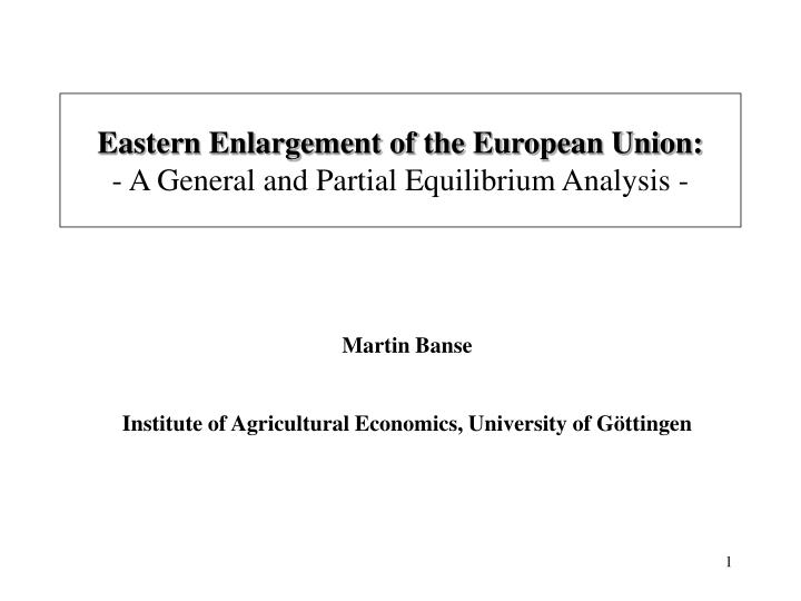 eastern enlargement of the european union a general and partial equilibrium analysis n.