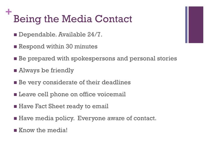 Being the Media Contact
