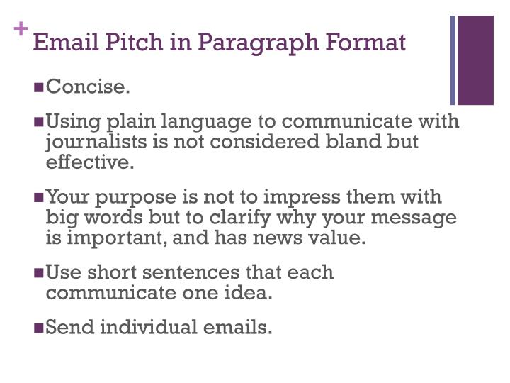 Email Pitch in Paragraph Format