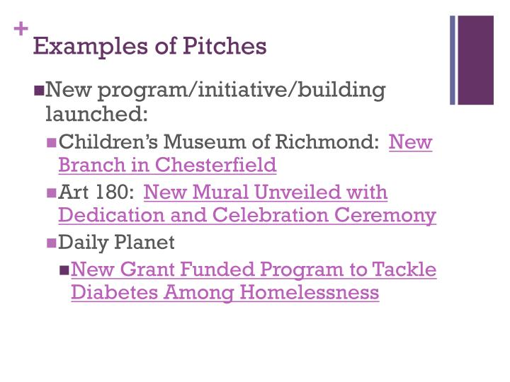 Examples of Pitches