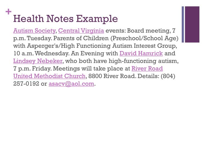 Health Notes Example