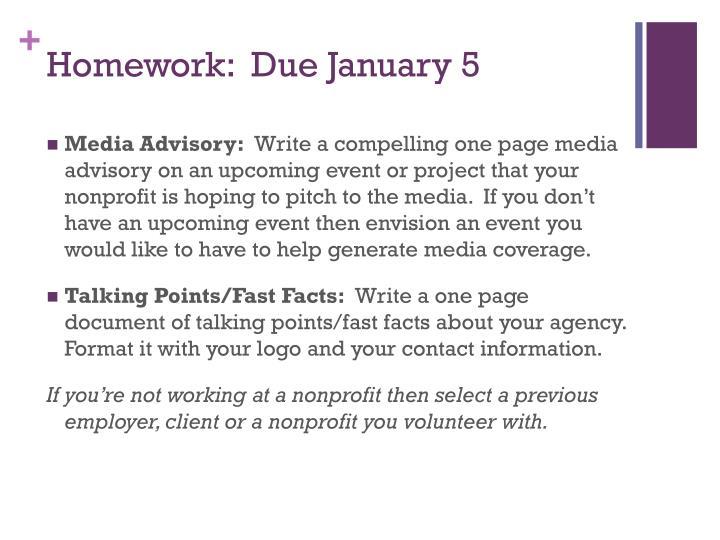 Homework:  Due January 5