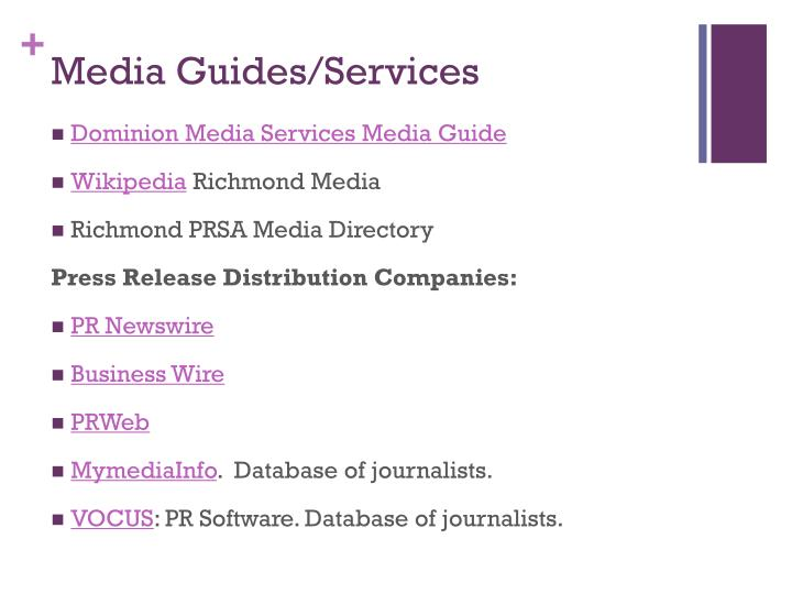 Media Guides/Services