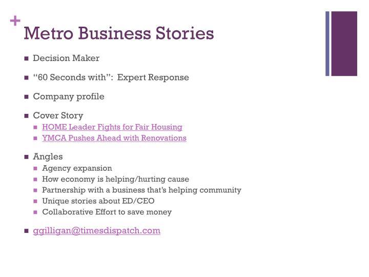 Metro Business Stories