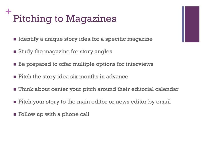 Pitching to Magazines
