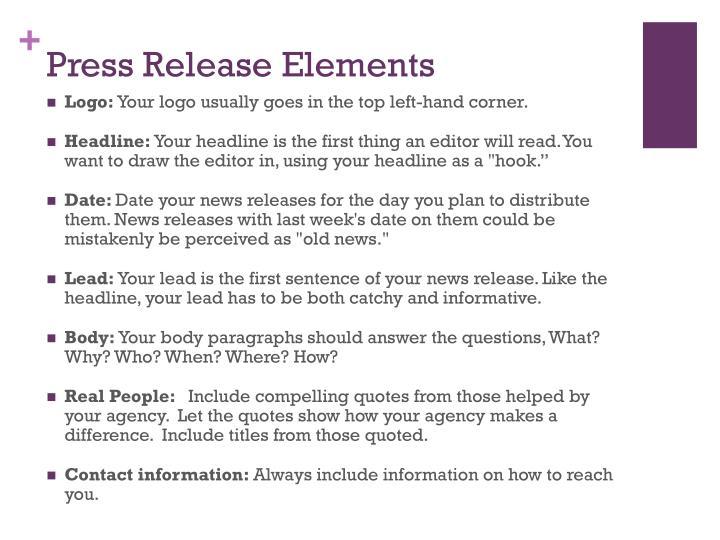 Press Release Elements