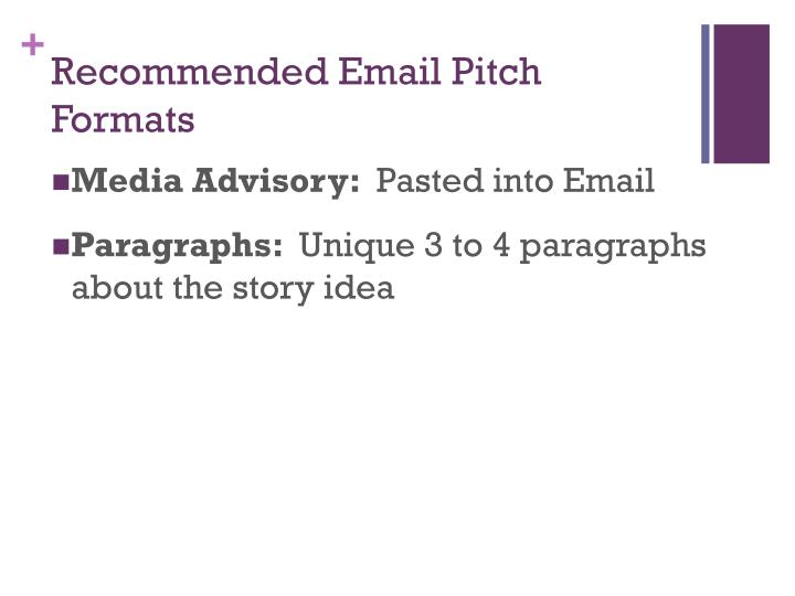 Recommended Email Pitch Formats