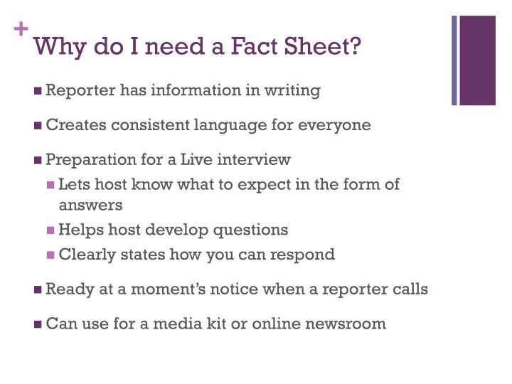 Why do I need a Fact Sheet?