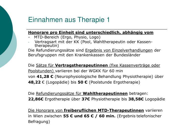 Einnahmen aus Therapie 1