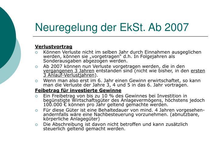 Neuregelung der EkSt. Ab 2007