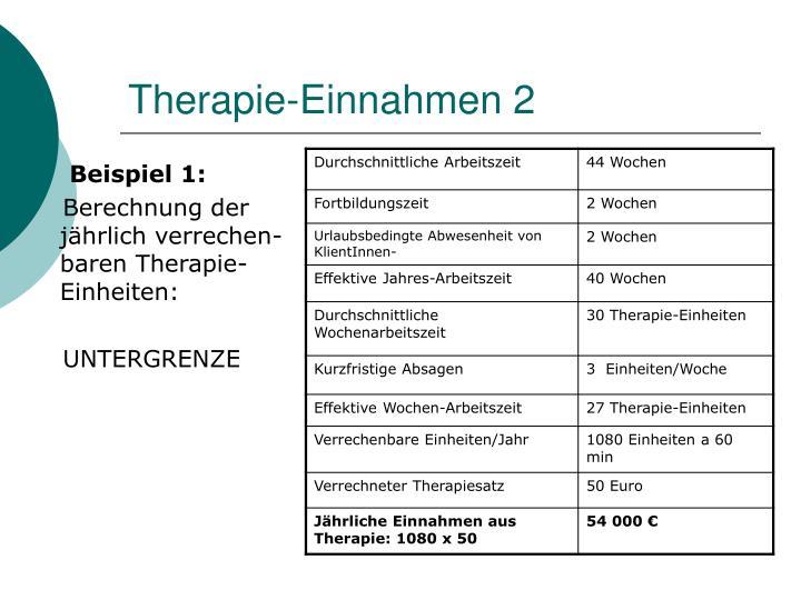 Therapie-Einnahmen 2