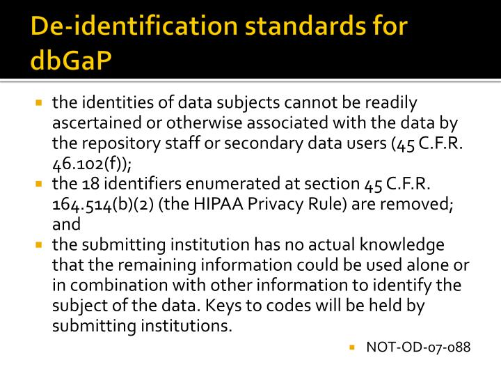 De-identification standards for