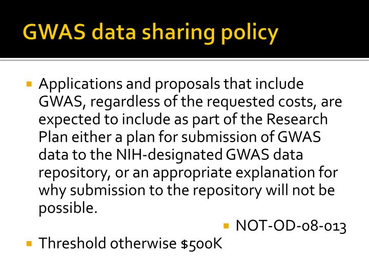 GWAS data sharing policy