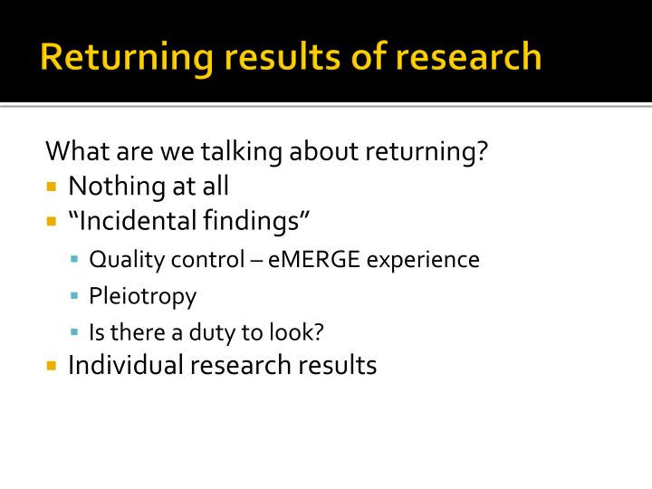 Returning results of research