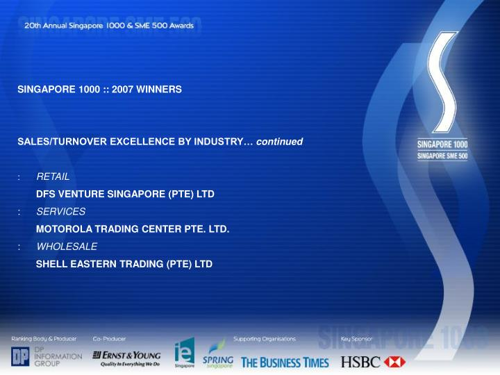 SINGAPORE 1000 :: 2007 WINNERS