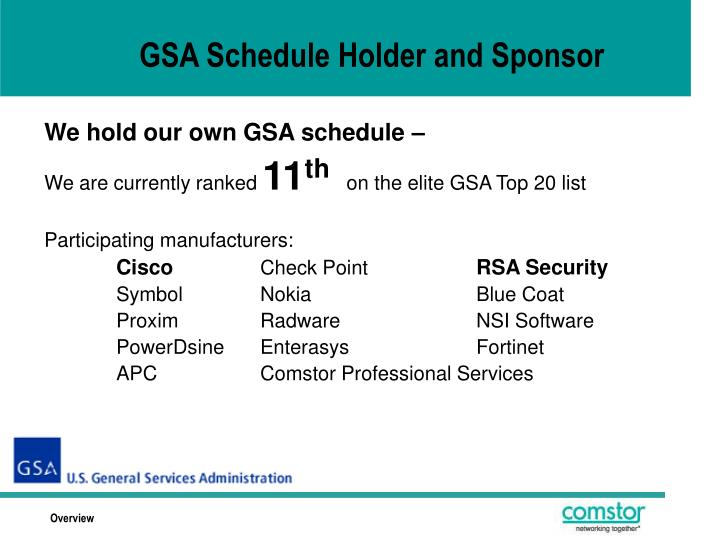 GSA Schedule Holder and Sponsor