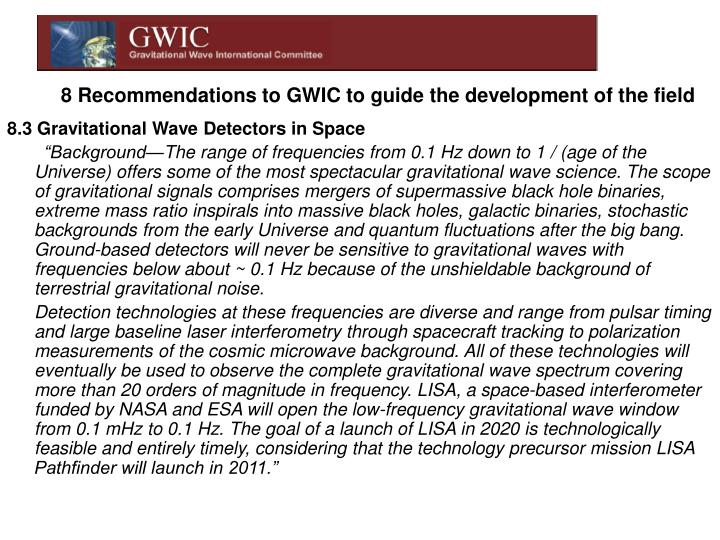 8 Recommendations to GWIC to guide the development of the field