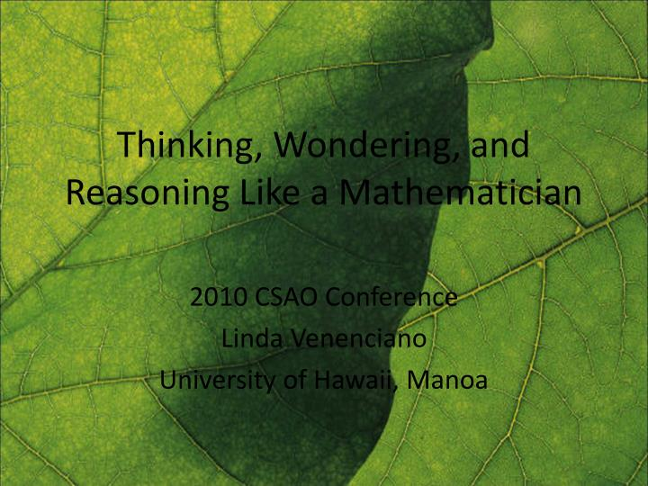 thinking wondering and reasoning like a mathematician n.