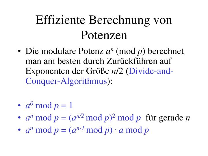 Effiziente Berechnung von Potenzen