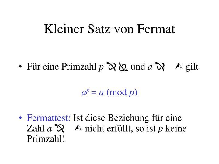 Kleiner Satz von Fermat